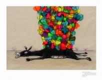 Artist: Gurmeet Marwah<br> Title : Hazaar Khwahishen aisi Ke Har Khwahish pe Dum Nikle<br> Medium: Acrylic and Charcoal on Canvas<br> Size : 40.5 x 29 inches<br> Year : 2016