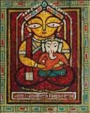 Artist: Jamini Roy <br> Title : Ganesh Janini <br> Medium: Gouache on paper board<br> Size : 19 x 15.5 inches