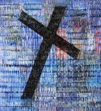 Artist: Kalicharan Gupta<br> Title : Time of Cross<br> Medium: Acrylic on canvas<br> Size : 55 x 50 inches<br> Year : 2015