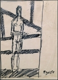 Artist: M F Husain<br> Title : Untitled<br> Medium: Pen and Ink on paper<br> Size : 5.75 x 3.75 inches<br> Year : 1987