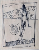 Artist: M F Husain<br> Title : Untitled<br> Medium: Pen on paper<br> Size : 12.5 x 11 inches