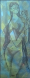 Artist: M Sivanesan<br> Title : Untitled<br> Medium: Oil on canvas<br> Size : 46 x 17 inches<br> Year : 1970