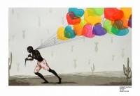Artist: Gurmeet Marwah <br> Title : Peace Please <br> Medium: Woodcut <br> Size : 22 x 33 inches