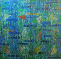 Artist: Kalicharan Gupta<br> Title : Trapezium-II<br> Medium: Acrylic on canvas<br> Size : 72 X 72 (Dyptich) inches<br> Year : 2009