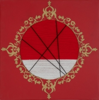 Mirror3, Size- 12-x12-, Medium- Acrylic,pen,woollen thread on canvas
