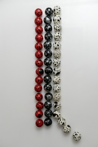 Title-'Being Human',Size-50-x12- (variable),Medium-Fibreglass balls, enamel,pen
