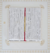 Title- Devoted,Size- 40-x40-,Medium- Acrylic block printing, cotton rope,satin,on canvas