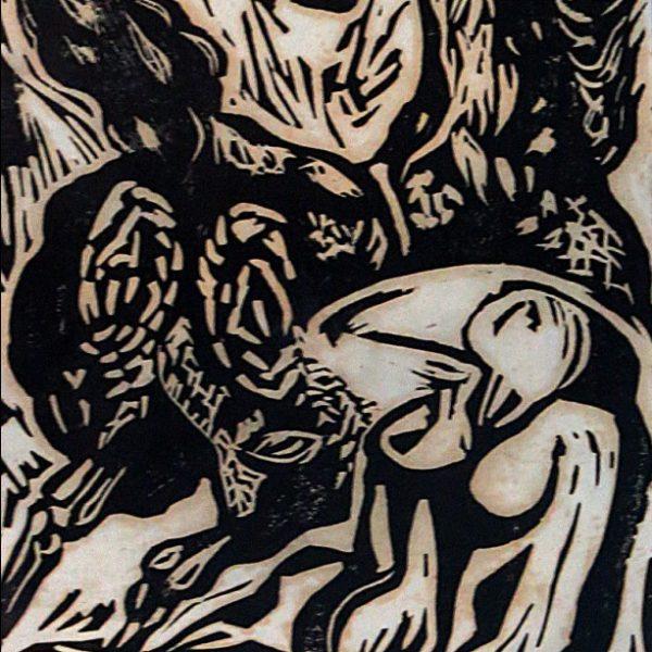 Haren Das, Untitled, Linocut, 12 x 7 inch