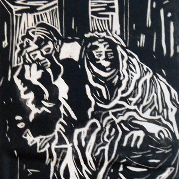 Haren Das, Untitled, Linocut, 8 x 5 inch